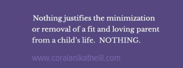 Nothing justifies the minimization or removal of a fit and loving parent from a child's life NOTHING 2015