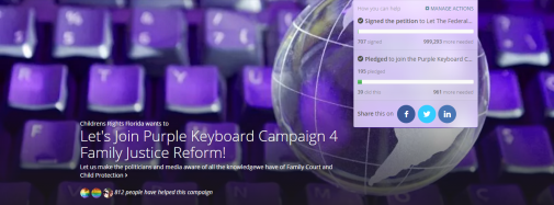 Purple Keyboard Campaign 4Family Justice Cover - 2015